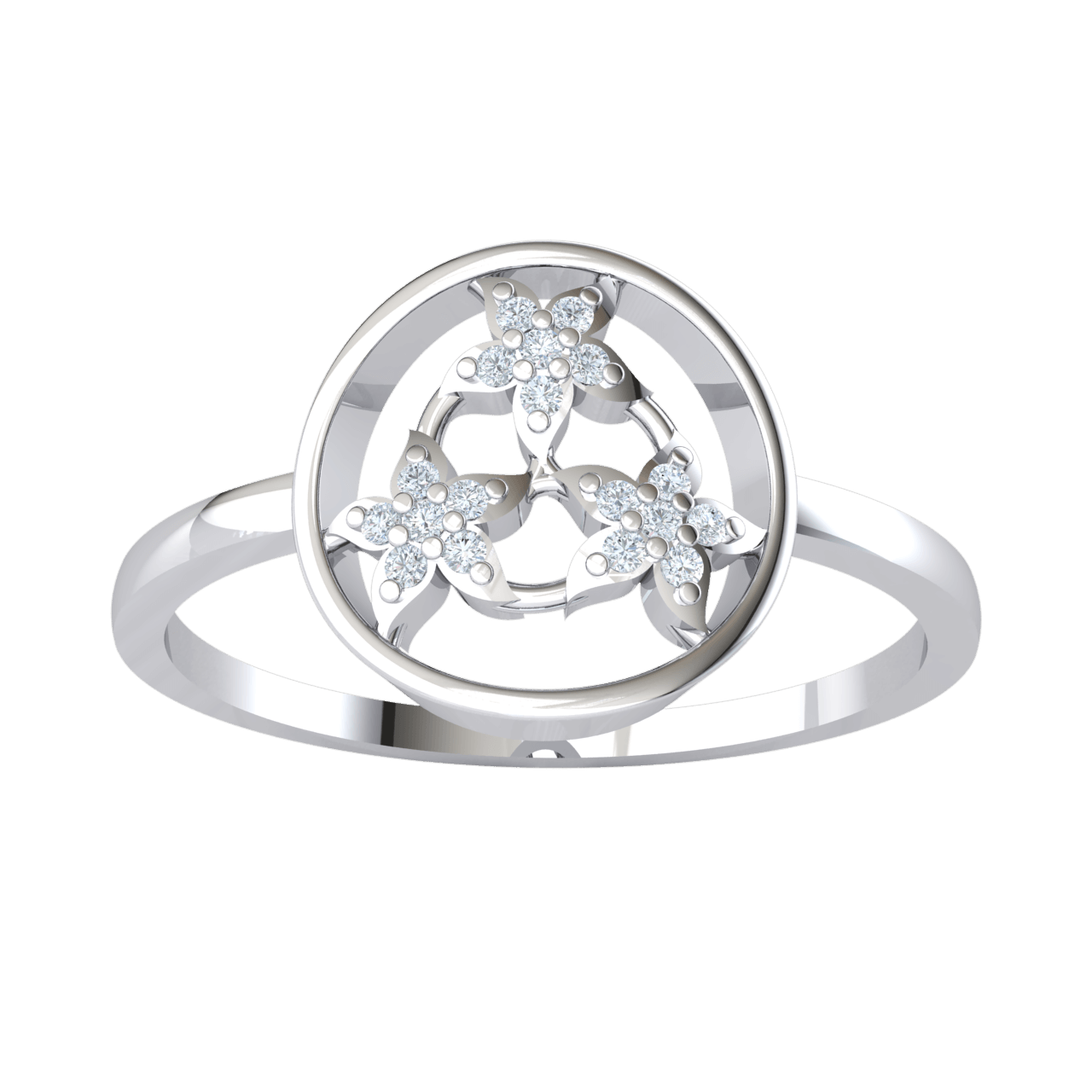 0.07 Ct JK I1-I2 3 Beautiful 7 Stone Flowers Come Together To Make A Gorgeous Centerpiece Set In A Real Band in .925 Sterling Silver