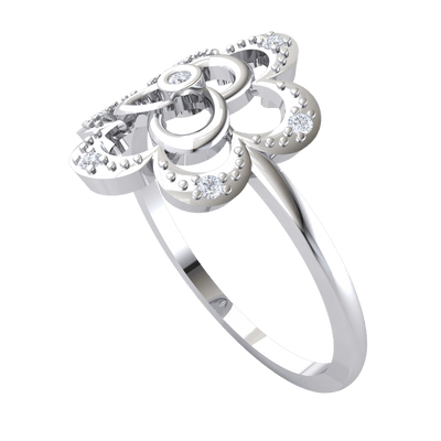 0.07 Ct JK I1 Classy And Fun Real Flower With Several Sparkling White Diamond Solitares in 10 kt Gold