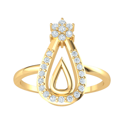 0.19 Ctw Beautiful Real Double Teardrop Filled With Diamonds Stem From A Radiant 7 Stone White Diamond Flower in GH I1 14 kt Gold