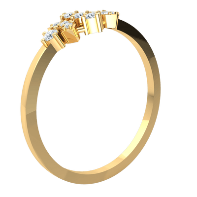0.14 Ct GH I1 Gorgeously Designed With Several White Diamond Solitares Set In A Beautiful Real Band in 14 kt Gold