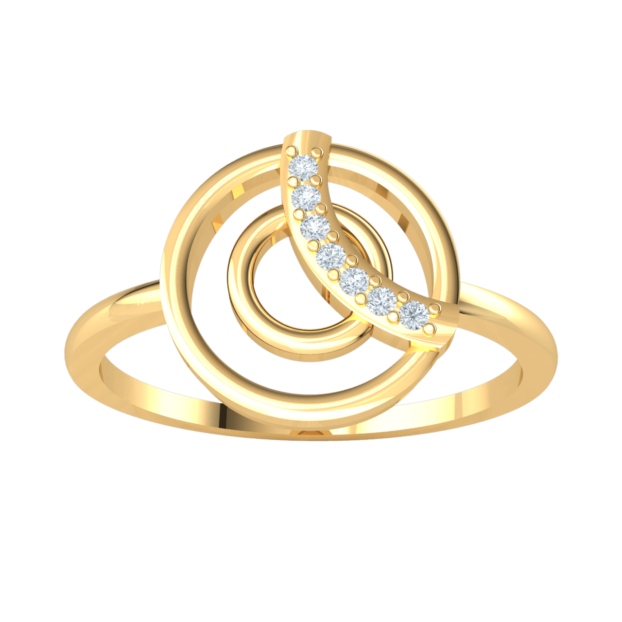 0.04 Ct GH I1 Classic Circular Formation Made Of Real With A Row Of Sparkling White Diamonds in 14 kt Gold