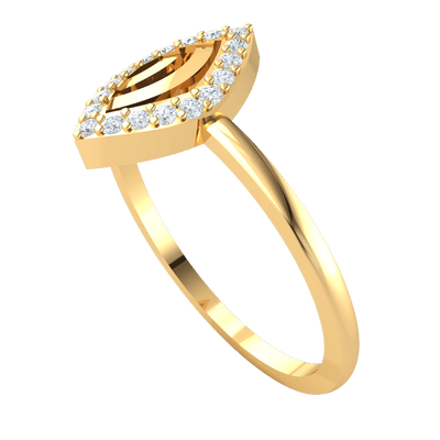 Radiant White Diamond Solitares In A Classic Eye Formation Set In A Beautiful Real Band 0.13 Ct IJ SI2 and 14 kt Gold