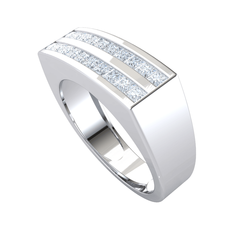 2 Rows Of Beautiful Square Cut White Diamonds In A Classic Real Wide Band 1.00 Ct FG VS2 and 18 kt Gold