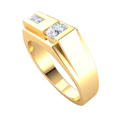 0.80 Ctw Creative White Diamond Solitare Offsets A Row Of Diamonds In A Beautiful Real Wide Band in J SI2 10 kt Gold