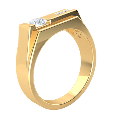 0.80 Ct IJ SI2 Creative White Diamond Solitare Offsets A Row Of Diamonds In A Beautiful Real Wide Band in 14 kt Gold