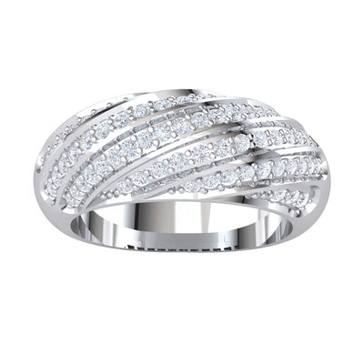 Beautiful And Timeless Rows Of Sparkling White Diamonds Curved Around A Classic Real Band 0.60 Ct KL I2 and .925 Sterling Silver