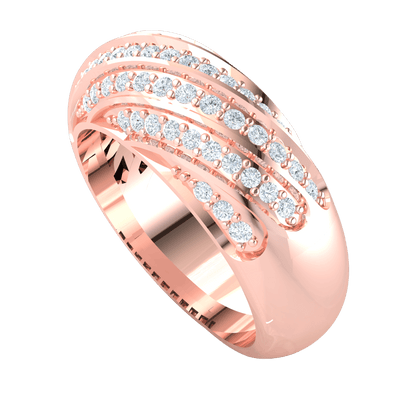 0.60 Ct GH SI2 Beautiful And Timeless Rows Of Sparkling White Diamonds Curved Around A Classic Real Band in 14 kt Gold