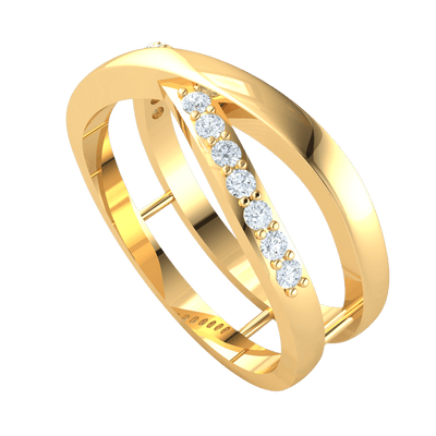 0.19 Ct JK I1 Beautiful White Diamond Solitares And Real Cross Leisurely Around This Double Band in 10 kt Gold