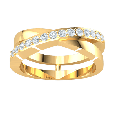 Radiant White Diamond Solitares And Real Cross Leisurely Around This Double Band 0.26 Ct JK I1 and 10 kt Gold
