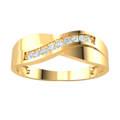 0.09 Ct GH I1 Beautiful White Diamond Solitares Cross Casually Over A Lovely Real Band in 14 kt Gold