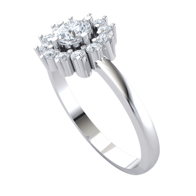 0.45 Ct GH SI2 Stunning White Diamond Solitare Surrounded By Beautiful Diamonds In A Real Band in 14 kt Gold