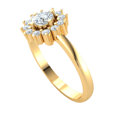 0.45 Ctw Stunning White Diamond Solitare Surrounded By Beautiful Diamonds In A Real Band in J SI2 10 kt Gold