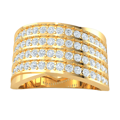 1.02 Ct JK I1 Absolutely Gorgeous 4 Rows Of Sparkling White Diamond Solitares In A Beautiful Real Band in 10 kt Gold