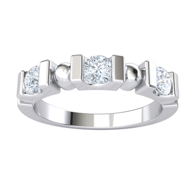 3 Radiant White Diamond Solitares Enchanted With Dividers In A Real Band 0.39 Ct GH I1-I2 and 10 kt Gold