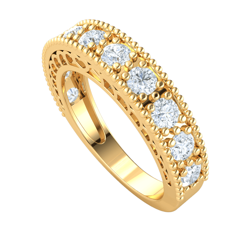 Stunning White Diamond Solitares Surrounded By Beautiful Real Bullets And An Artistic Band 0.69 Ct JK I1 and 10 kt Gold