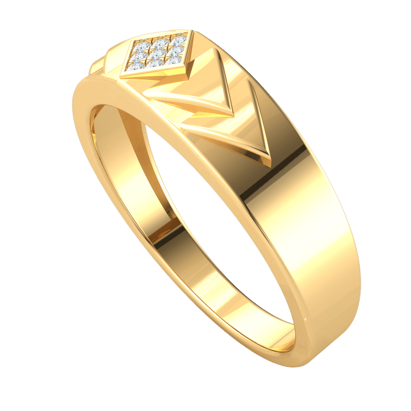 0.07 Ct GH I1 Incredible Real Wide Band With Square Display With Rows Of White Diamonds in 14 kt Gold