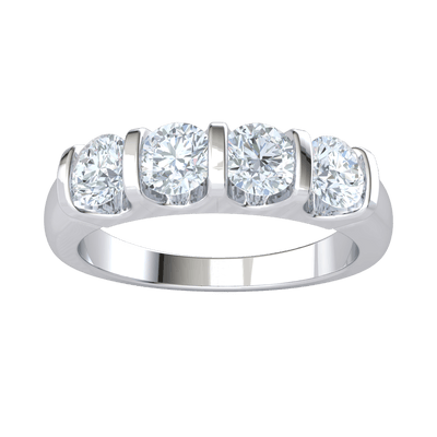 1.00 Ct GH I1-I2 Absolutely Stunning Display Of 4 White Diamond Solitares Perfectly Spaced In A Real Band in 10 kt Gold