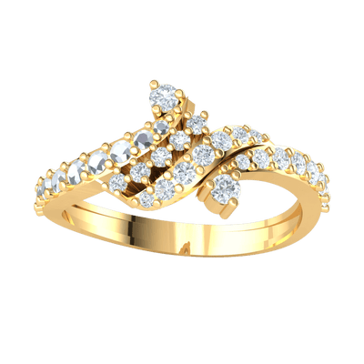 0.46 Ctw Gorgeous Real Wrap Band Full Of Beautiful Diamonds With White Diamond Solitares On Each Side in IJ SI2 14 kt Gold