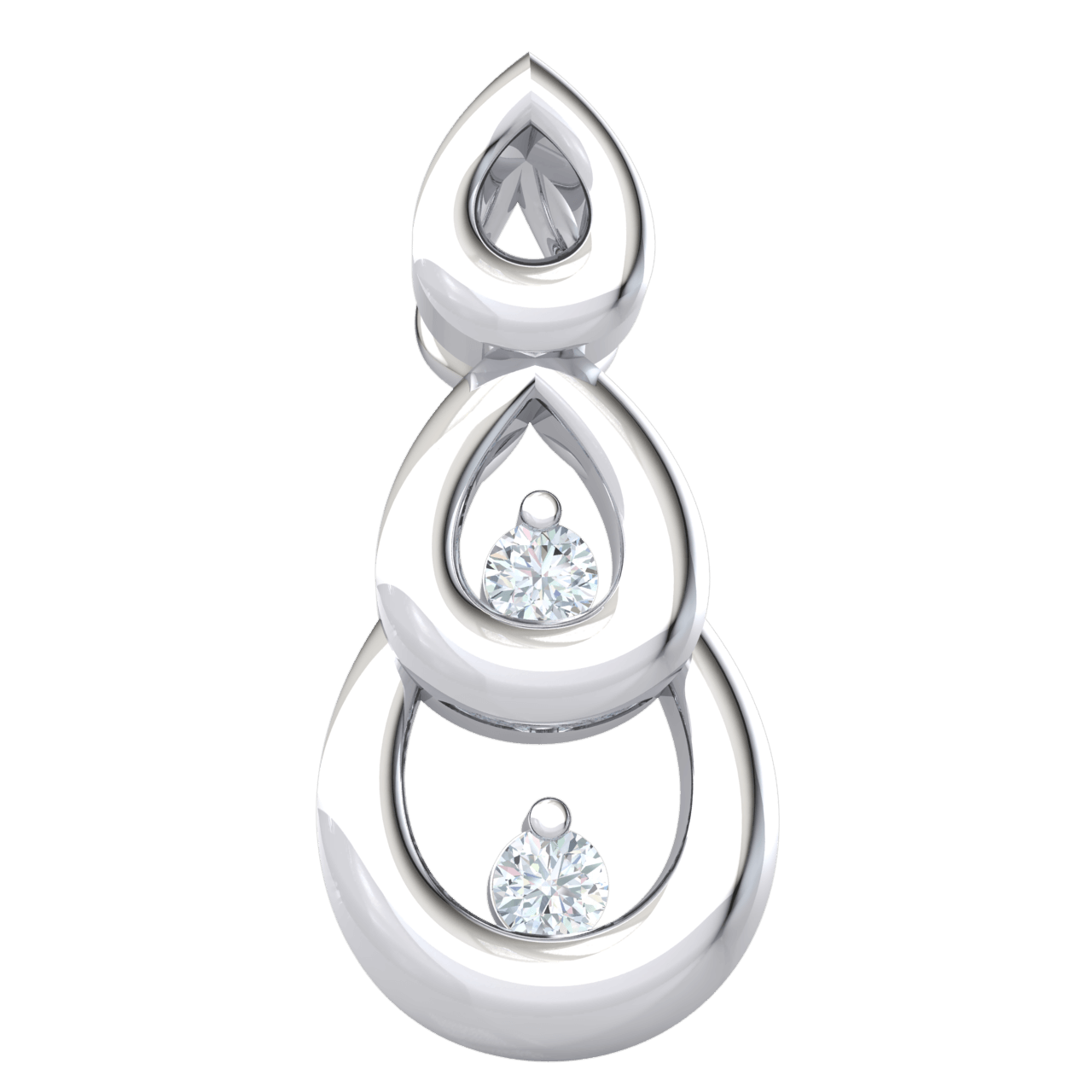 0.02 Ct IJ SI2 Heart Stopping And Timeless 3 Tier Teardrop Shaped Real Pendant With Sparkling White Diamond Treasures Inside in 14 kt Gold