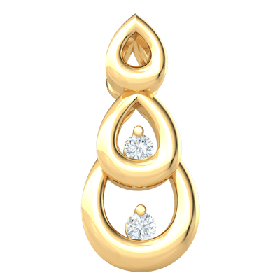0.02 Ctw Heart Stopping And Timeless 3 Tier Teardrop Shaped Real Pendant With Sparkling White Diamond Treasures Inside in JK I1 10 kt Gold