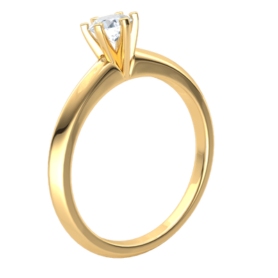 0.37 Ct FG VS2 Radiant White Diamond Solitare Set In A Spectacular Real Band in 18 kt Gold