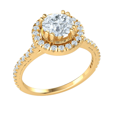 1.25 Ctw Absolutely Gorgeous White Diamond Solitare Surrounded By Diamonds Set In A Real Diamond Filled Band in GH SI2 14 kt Gold