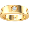 0.35 Ctw Lovely Real Band Inlaid With Beautiful White Diamond Solitares in GH I1-I2 10 kt Gold