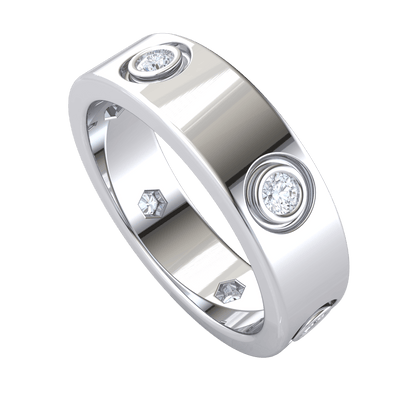 0.35 Ct IJ SI2 Lovely Real Band Inlaid With Beautiful White Diamond Solitares in 14 kt Gold