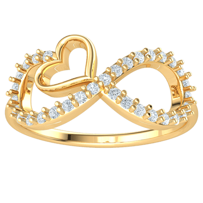 0.22 Ct IJ SI2 Stunning Display Of Real Hearts And A White Diamond Filled Infinity Symbol Band in 14 kt Gold