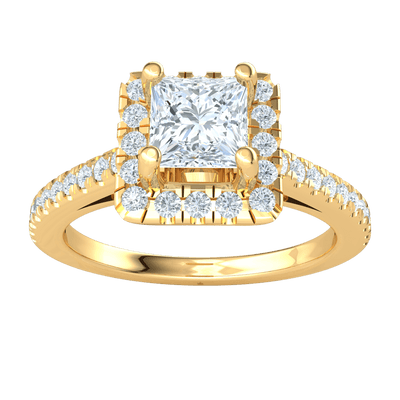 0.50 Ctw Absolutely Beautiful Square Cut White Diamond Surrounded By Diamonds Inlaid In A Real Diamond Filled Band in IJ SI2 14 kt Gold