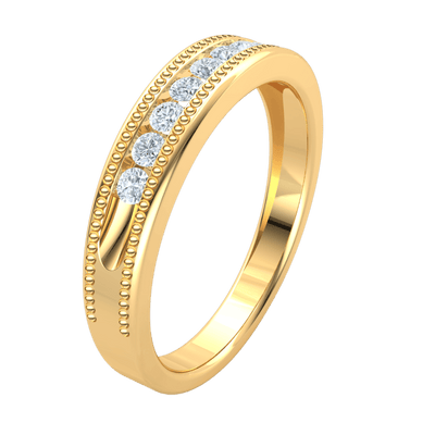 Glamerous Real Band With Sparkling White Diamonds And Perfect Bullets 0.25 Ct J SI2 and 10 kt Gold