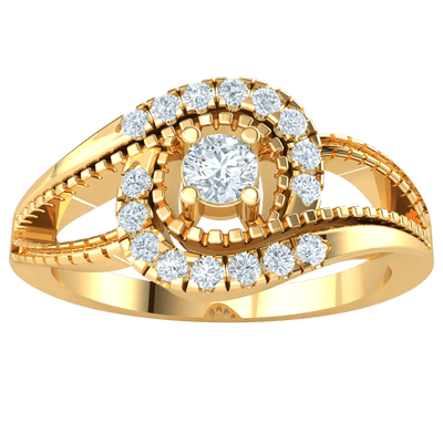 0.27 Ct IJ SI2 Radiant White Diamond Solitare With Beautiful Real And Diamond Display in 14 kt Gold