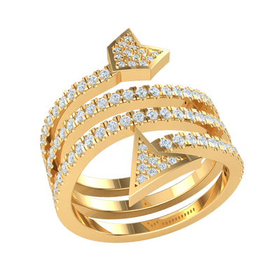 0.75 Ctw Truely Unique Real Arrow Wrap Encrusted In Dazzling White Diamonds in JK I1 10 kt Gold