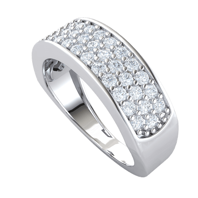0.83 Ct GH I1-I2 Breathe Taking Rows Of White Diamonds Inlaid In A Beautiful Real Band in 10 kt Gold