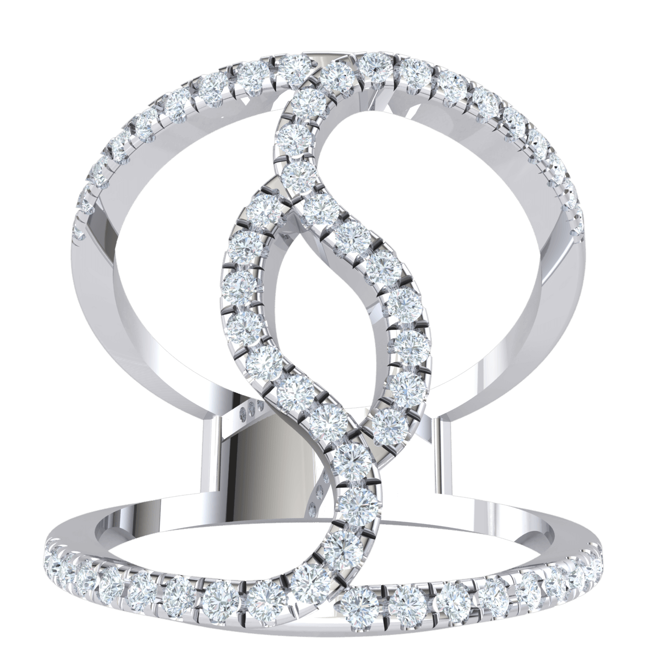 0.52 Ctw Truely Unique Real Double Band Swirled Together In A Sea Of Sparkling White Diamonds in JK I1 10 kt Gold
