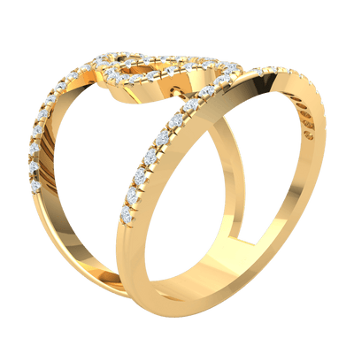 0.52 Ct GH I1 Truely Unique Real Double Band Swirled Together In A Sea Of Sparkling White Diamonds in 14 kt Gold