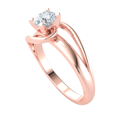 0.50 Ctw Breathe Taking White Diamond Solitare Beautifullly Inlaid In Swirls Of Real in GH I1-I2 10 kt Gold