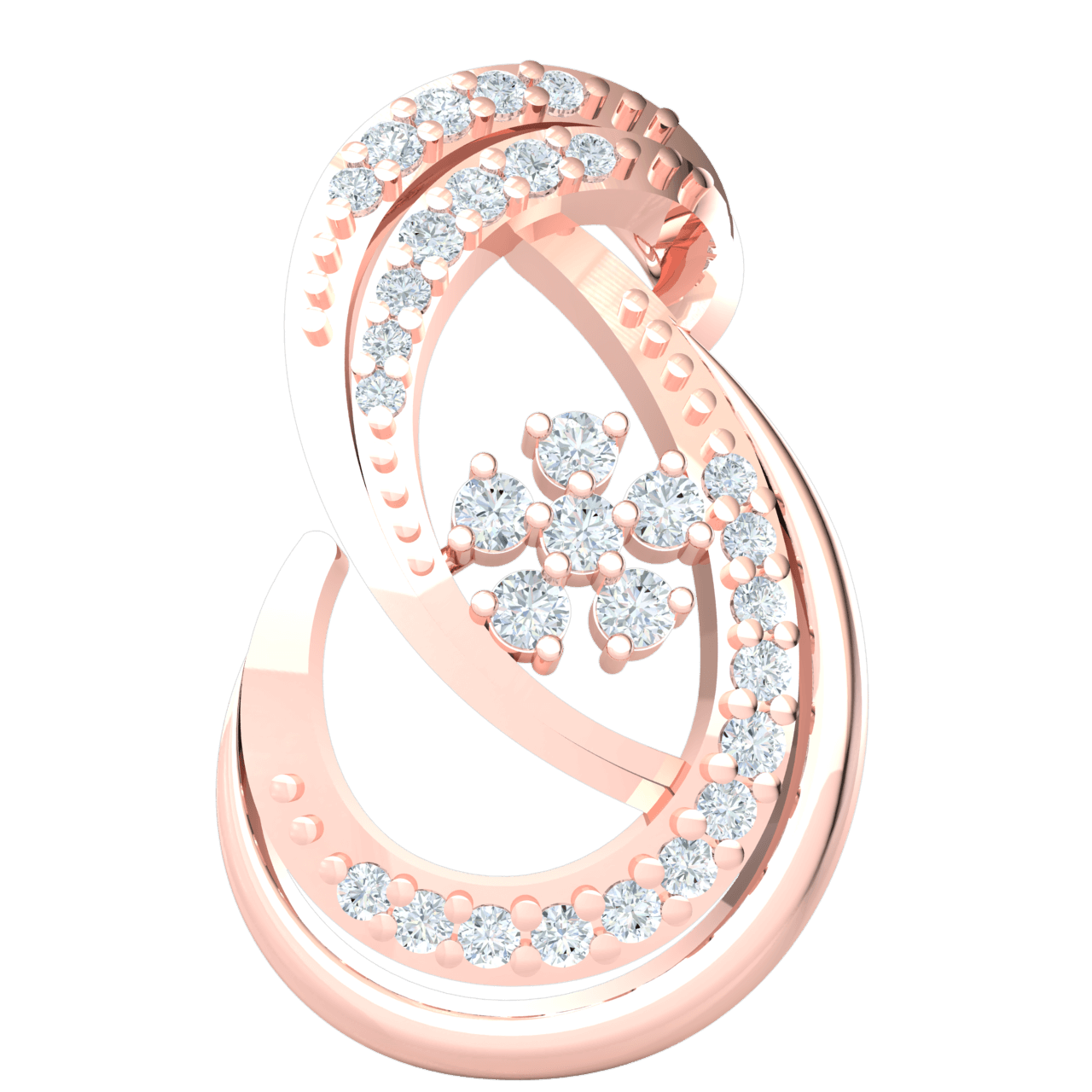 0.24 Ctw Gorgeous And Majestic This Real Artistic Infinity Symbol Real Pendant Is Covered In An Array Of White Diamonds in JK I1 10 kt Gold