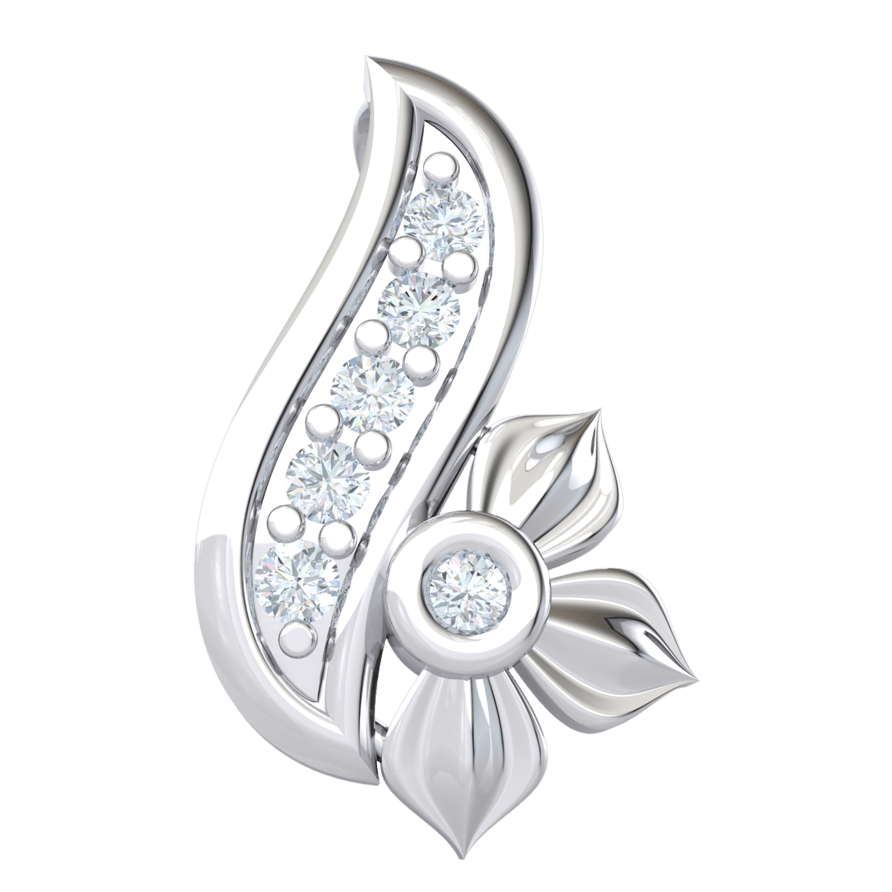 0.04 Ct JK I1 This Extremely Elegant Real Pendant Is Beautifully Crafted With 3 Leaf Flower And Stem Encrusted With White Diamonds in 10 kt Gold