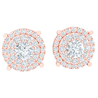 Stunning White Diamond Solitare Stud Earrings Surrounded By Circular Rows Of Diamonds Set In Real 1.70 Ct JK I1 and 10 kt Gold