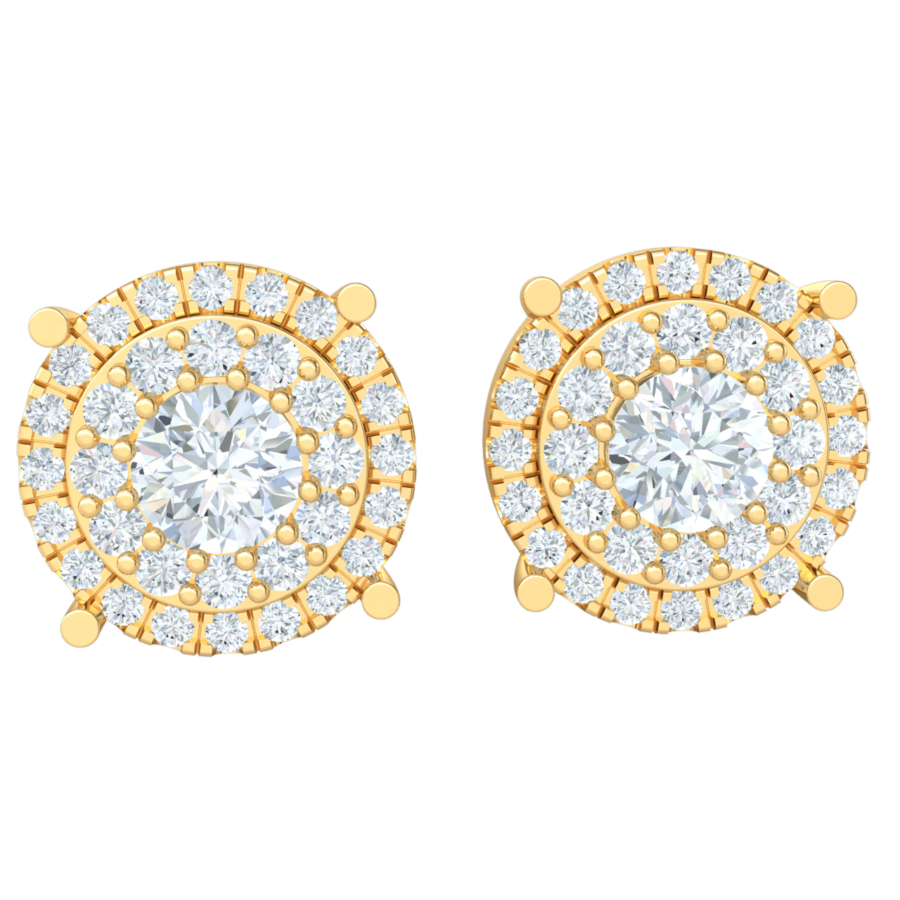 1.70 Ctw Stunning White Diamond Solitare Stud Earrings Surrounded By Circular Rows Of Diamonds Set In Real in IJ SI2 14 kt Gold