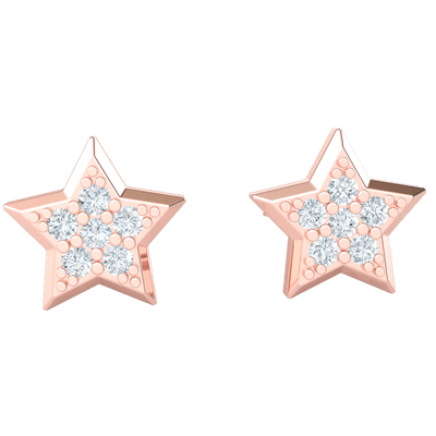 0.16 Ct IJ SI2 Shining Star Shaped Real Stud Earrings With Beautiful 7 Stone White Diamond Arrangement in 14 kt Gold