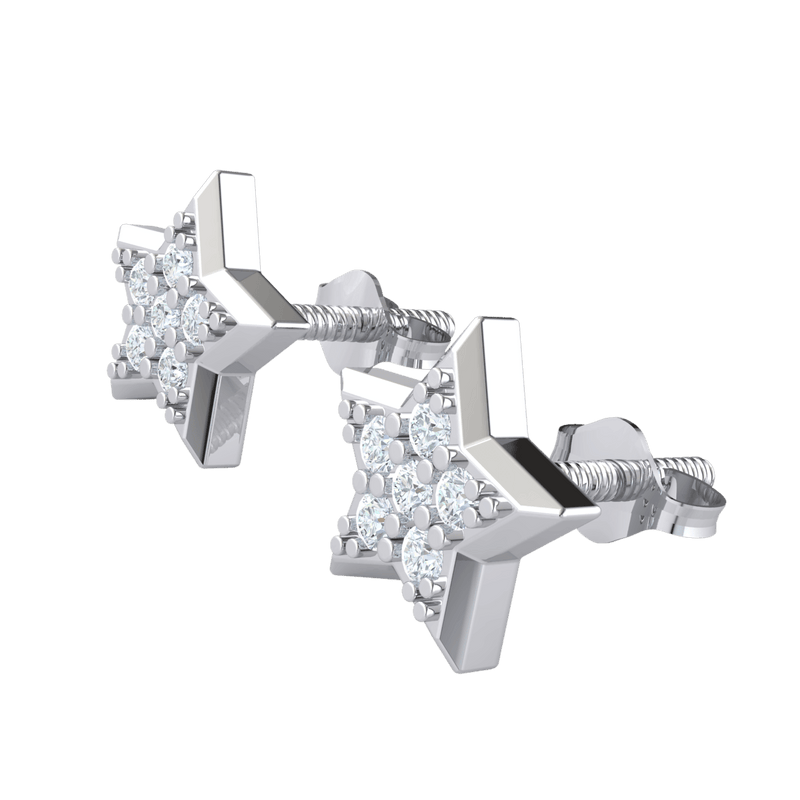 0.16 Ct JK I1 Shining Star Shaped Real Stud Earrings With Beautiful 7 Stone White Diamond Arrangement in 10 kt Gold