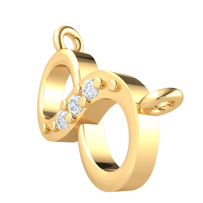 0.02 Ct GH SI2 This Elegant Real Infinity Symbol Pendant Has 3 Beautifully Arranged White Diamonds in 14 kt Gold