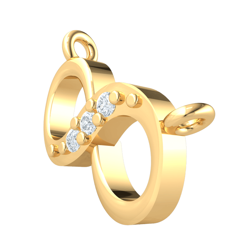 0.02 Ctw This Elegant Real Infinity Symbol Pendant Has 3 Beautifully Arranged White Diamonds in GH I1-I2 10 kt Gold