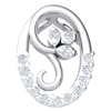 0.08 Ct IJ SI2 Magnificent Real Pendant With White Diamond Encrusted 3 Leaf Inside A Beautiful Diamond Oval in 14 kt Gold