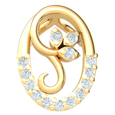 0.08 Ctw Magnificent Real Pendant With White Diamond Encrusted 3 Leaf Inside A Beautiful Diamond Oval in JK I1 10 kt Gold