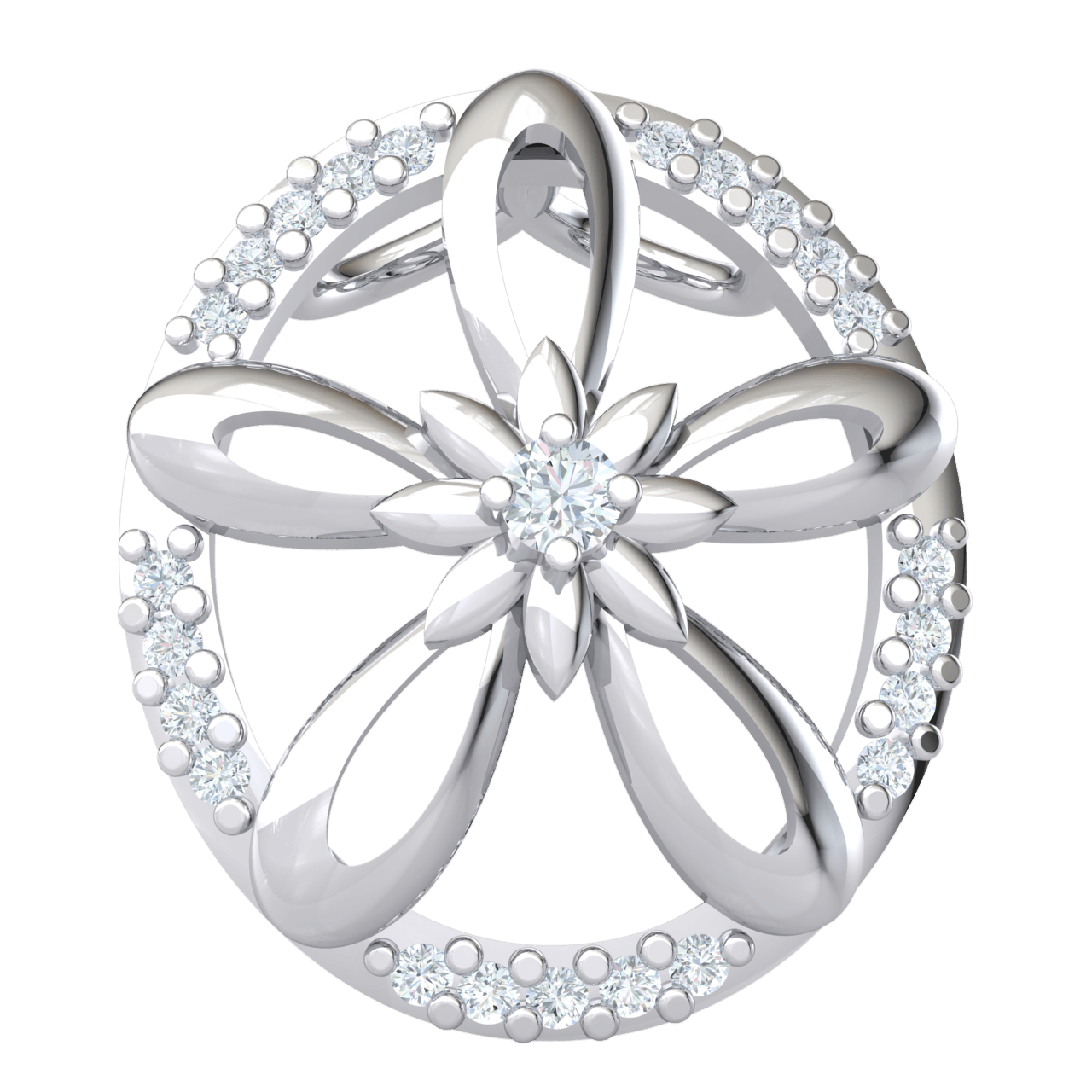 Beautiful Pendant Arrangement Of Real Flowers Inside A Sparkling White Diamond Oval 0.11 Ct IJ SI2 and 14 kt Gold