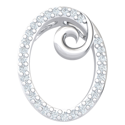 0.13 Ctw Timelessly Crafted This Oval Shaped Real Pendant Is Encrusted With White Diamonds And A Center Swirl in JK I1 10 kt Gold