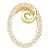 0.13 Ct IJ SI2 Timelessly Crafted This Oval Shaped Real Pendant Is Encrusted With White Diamonds And A Center Swirl in 14 kt Gold